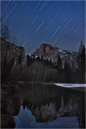 Winter Star Trails, Half Dome and the Merced River, Yosemite