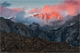 Alpenglow, Mt. Whitney and the Alabama Hills at sunrise, California