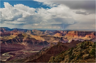 Lightning Strike Above the Colorado River, Lipan Point, Grand Canyon