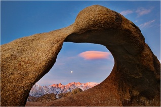 Whitney Arch Moonset, Alabama Hills, California