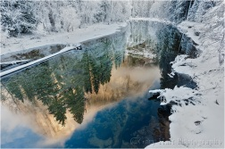 Winter Reflection, El Capitan reflected in the Merced River, Yosemite