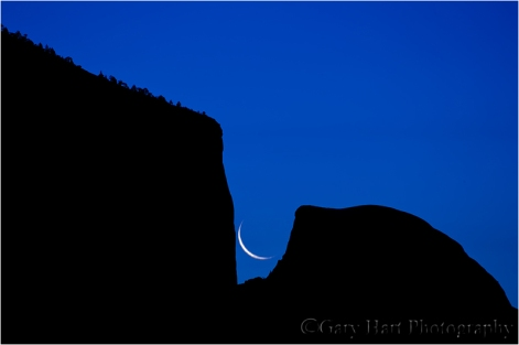Gary Hart Photography: Rising Crescent, El Capitan and Half Dome, Yosemite