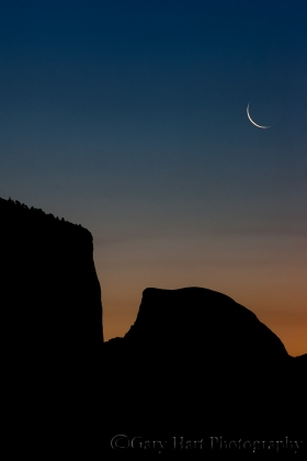 Gary Hart Photography: Sunrise Trio, Crescent Moon Above El Capitan and Half Dome, Yosemite