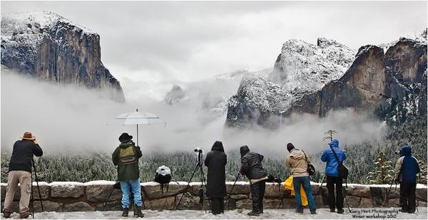 Gary Hart workshop group at Tunnel View, Yosemite