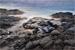 Hawaii isn't just endless sand beaches. The Big Island and Maui in particular have miles and miles of volcanic beaches like this--short on sand, but long on drama.