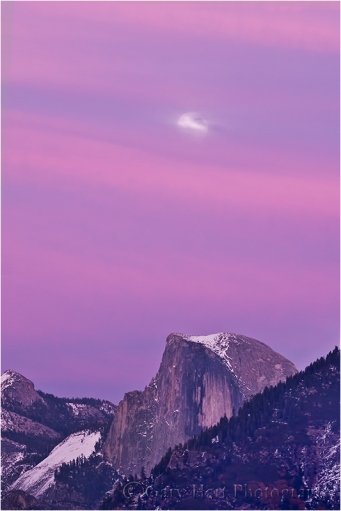 Magenta Moonrise, Half Dome, Yosemite