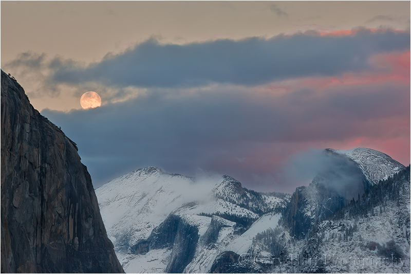 Winter Moonrise, El Capitan and Half Dome, Yosemite