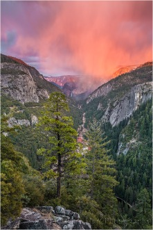 Red Sunset, Bridalveil Fall and the Merced River Canyon, Yosemite