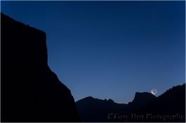 Dawn Moonrise, El Capitan and Half Dome, Yosemite