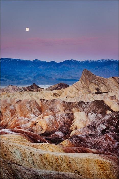 Setting Moon, Zabriskie Point, Death Valley