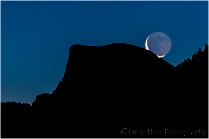 New Day, Half Dome and Crescent Moon, Yosemite