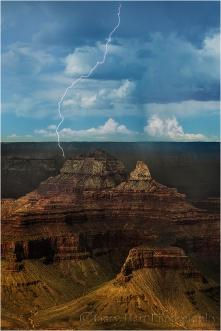 Lightning Strike, Zoroaster Temple and Brahma Temple, Grand Canyon
