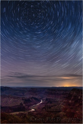 Star Trails Above the Colorado River, Desert View, Grand Canyon: Here's a 30 minute exposure toward the North Star. Notice how little movement the North Star shows compared to the stars toward the edge of the frame.