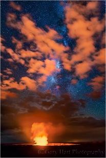 Gary Hart Photography: Fire on High, Kilauea and Milky Way, Hawaii