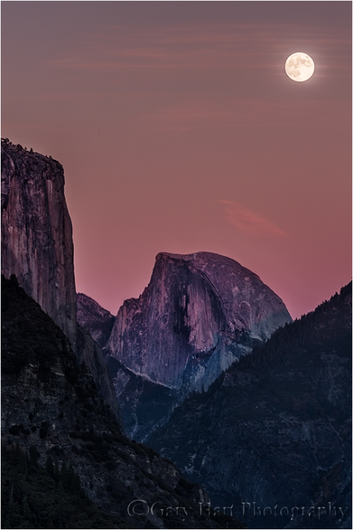 Autumn Moon, El Capitan and Half Dome, Yosemite