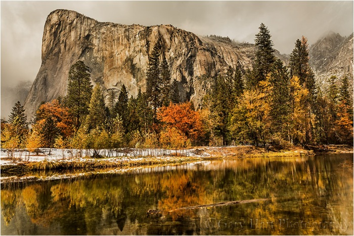 In the image above I went with a more conventional composition, emphasizing El Capitan's bulk against clouds that were spitting small, wet snowflakes.