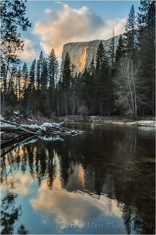 Sunset Reflection, El Capitan and Horsetail Fall, Yosemite