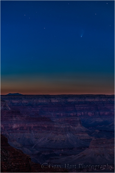 Comet PanSTARRS and the  Grand Canyon by Moonlight, Yavapai Point