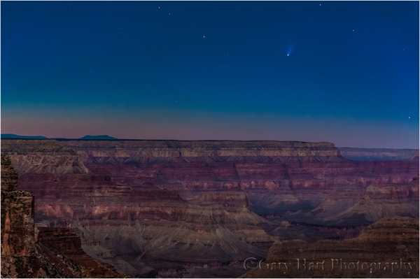 Moonlight, Comet PanSTARRS above the Grand Canyon, Yavapai Point