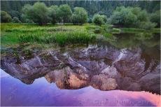 Sunset Reflection, Half Dome and Mirror Lake, Yosemite