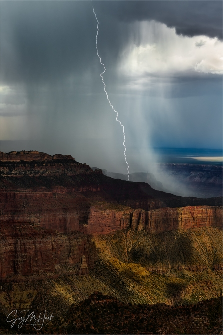Gary Hart Photography: Electric Downpour, Point Imperial, North Rim, Grand Canyon