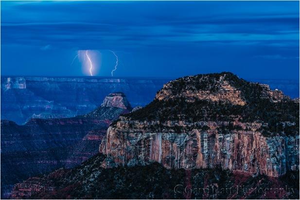 Lightning Before Dawn, Bright Angel Point, North Rim, Grand Canyon
