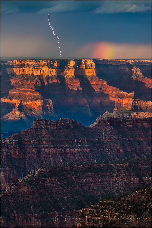 Lightning and Rainbow, Bright Angel Point, North Rim, Grand Canyon