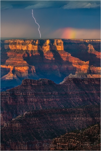Lightning and Rainbow, Bright Angel Point, Grand Canyon