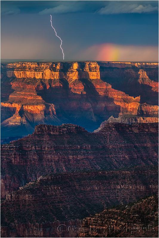 Lightning and Rainbow, Bright Angel Point, North Rim, Grand Canyon