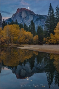 Moonrise Reflection, Half Dome and the Merced River, Yosemite