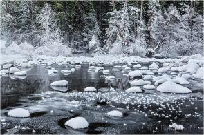 Frozen, Merced River, Valley View, Yosemite
