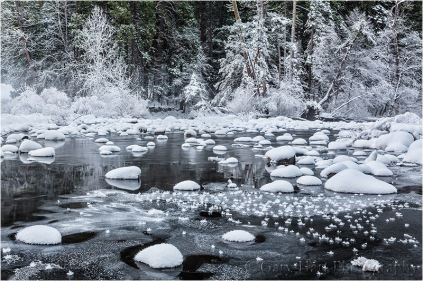 Frozen, Merced River, Valley View, Yosemite
