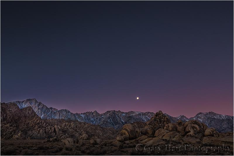 Sunrise Moonset, Sierra Crest, Alabama Hills, California