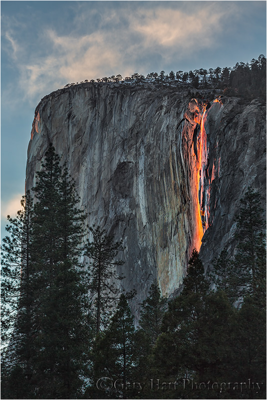 Horsetail Fall and Clouds, Yosemite