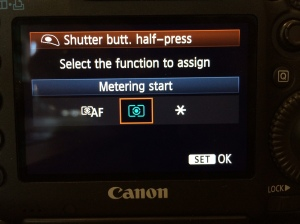 2) Set the first selection, Shutter butt. half press, to Metering start — This removes auto-focus from the shutter button.