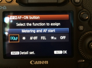 Set the second selection, AF-ON, to Metering and AF start — This assigns autofocus to the AF-ON button. Note that you can attach autofocus to the * (AE lock) button if you prefer.