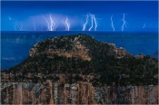 Multiple Lightning Strikes, Grand Canyon Lodge, North Rim, Grand Canyon
