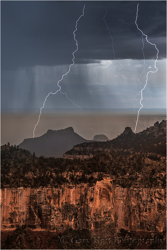 Gary Hart Photography: Too Close, Parallel Lightning Bolts, North Rim, Grand Canyon