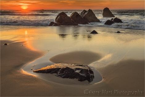 Gary Hart Photography: Rocks at Sunset, Garrapata Beach, Big Sur