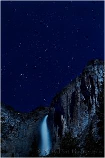 Moonlight, Upper Yosemite Fall and Cassiopeia, Yosemite