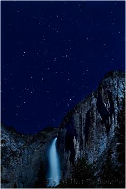 Moonlight, Upper Yosemite Fall and Cassiopeia, Yosemite