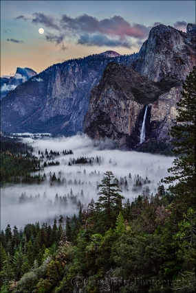 Gary Hart Photography: Moon and Mist, Half Dome and Bridalveil Fall, Yosemite
