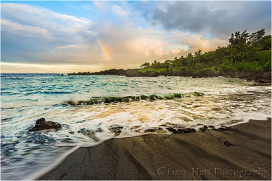 Gary Hart Photography: Rainbow and Surf, Wai'anapanapa Black Sand Beach, Maui