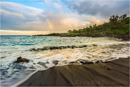 Gary Hart Photography: Rainbow and Surf, Wai'anapanapa Black Sand Beach, Maui