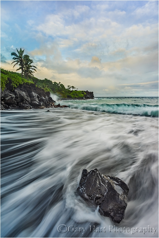 Gary Hart Photography: Sand and Foam, Wai'anapanapa Black Sand Beach, Maui