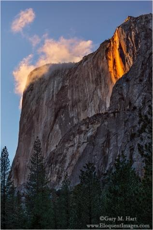 Horsetail Fall and Clouds, El Capitan, Yosemite
