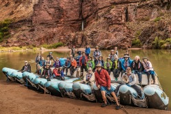 My 2016 Grand Canyon raft trip group perched atop our two J-Rig rafts.