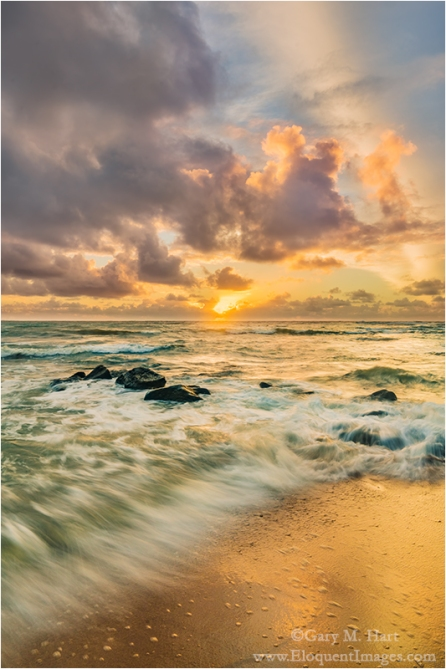 Gary Hart Photography: Surf at Sunrise, Lydgate Beach, Kauai, Hawaii