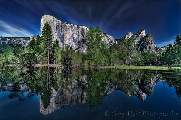 Gary Hart Photography: Moonlight Reflection, El Capitan and the Three Brothers, Yosemite
