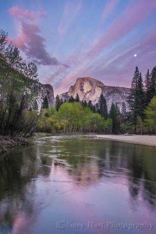 Gary Hart Photography: Spring Moon, Half Dome, Yosemite
